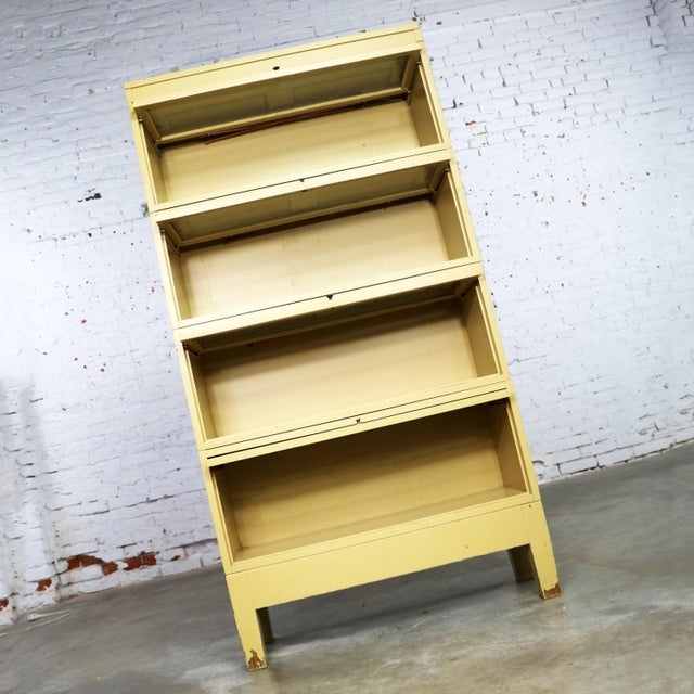 Metal Industrial Barrister Stacking Bookcase Globe Wernicke Distressed Yellow Painted Wood For Sale - Image 7 of 13