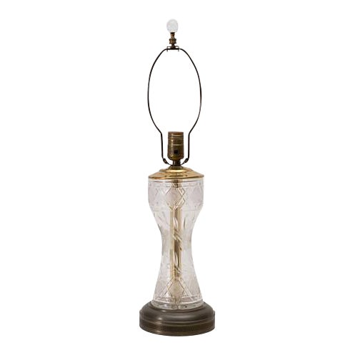 Antique Cut Glass Lamp With Glass Ball Finial For Sale