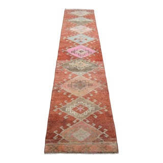 Hand-Knotted Turkish Runner Rug. Tribal Low Pile Faded Long Runner 3′2″ × 14′9″