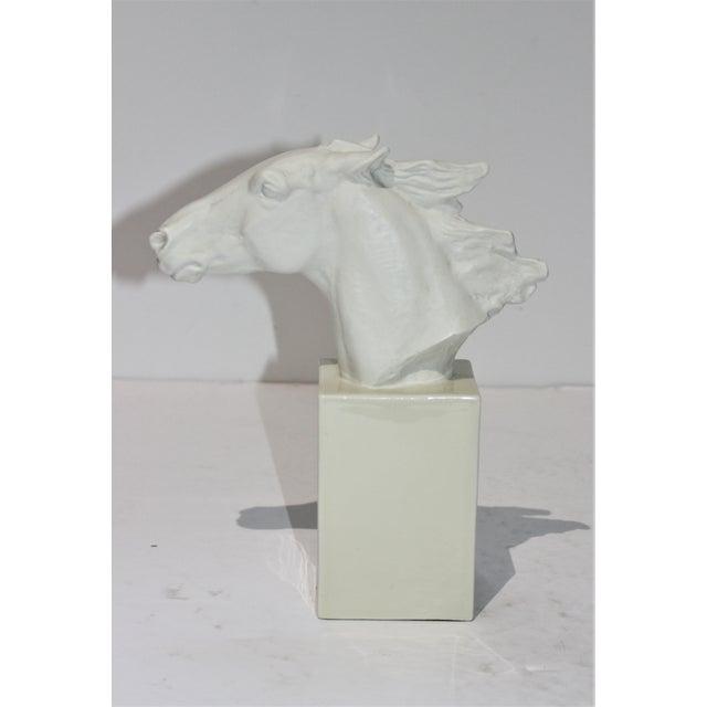 Vintage 1930s-1940s Horse Sculpture White Porcelain For Sale - Image 4 of 13