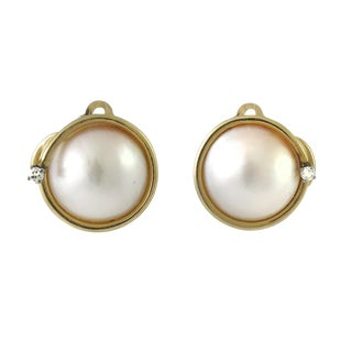 Vintage 14k Mabe Pearl and Diamond Clip Back Earrings For Sale