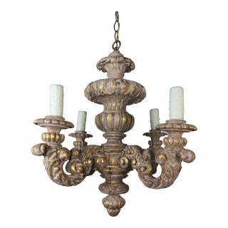French Carved Louis XV Style Giltwood Chandelier For Sale