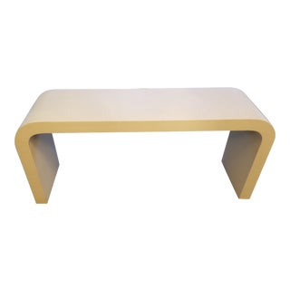 1980's Lacquered Grass Cloth Waterfall Console Table