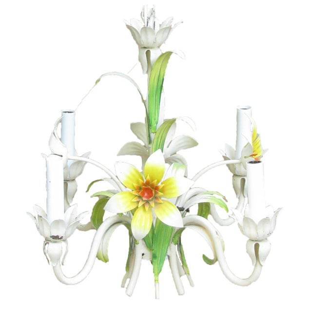 A delightful vintage fixture to brighten an entry, hall, powder room, or bedroom this charming 1960's era Italian tole...