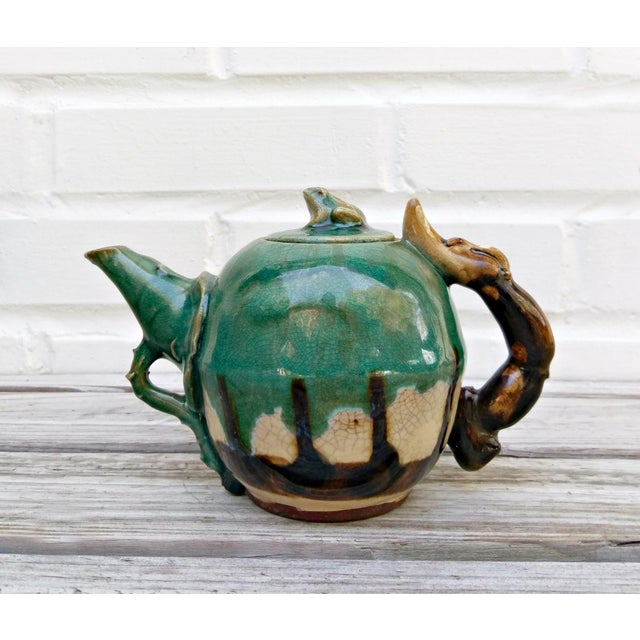Ceramic Handmade Pottery Frog Teapot For Sale - Image 7 of 7