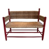Image of Walnut Rush Seat Bench For Sale