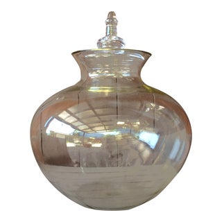 Large Lidded Apothecary Glass Jar