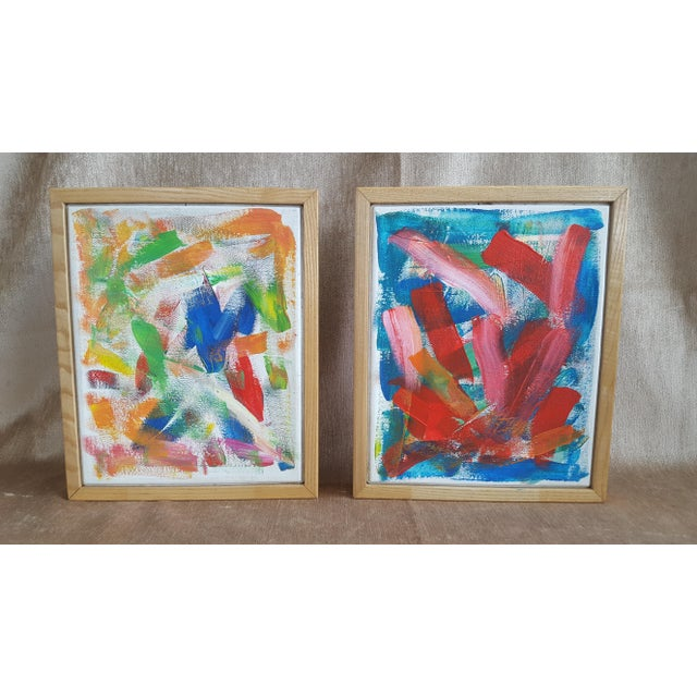 A Pair- Original Abstract Acrylic Paintings in Cubed Wooden Frames For Sale - Image 11 of 13
