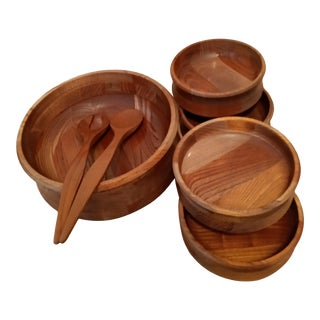 Mid-Century Teak Wood Salad Bowls - Set of 7 For Sale