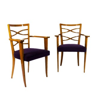 Pair of Auxiliary or Desk Armchairs, Attributed De Coene Frères, Belgium, 1940s For Sale