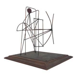 Anvil R Terry Abstract Modernist Metal Wire Signed Sculpture For Sale