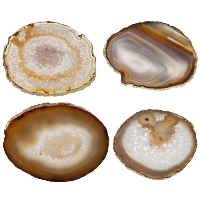 Brown Agate Slice & Gold Rim Coasters - Set of 4 - Image 2 of 2