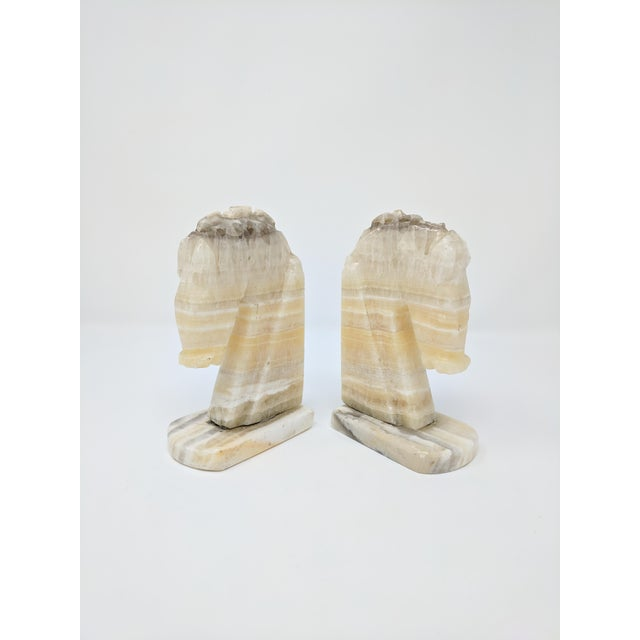 Art Deco Art Deco Alabaster Horse Bookends - a Pair For Sale - Image 3 of 7