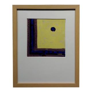 Conrad Buff - Hard Edge in Yellow, Black & Blue -Modernist Oil Painting For Sale
