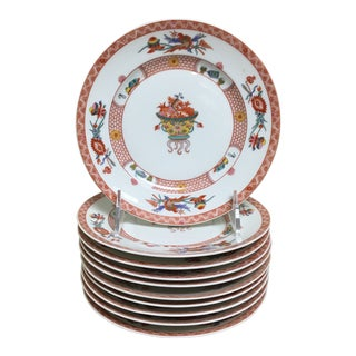 Vintage Bernardaud Fou Tcheou Rust Phoenix Appetizer Accent Plates - Set of 10 For Sale