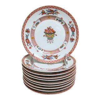 Vintage Bernardaud Fou Tcheou Rust Phoenix Appetizer Accent Plates - Set of 10 For Sale