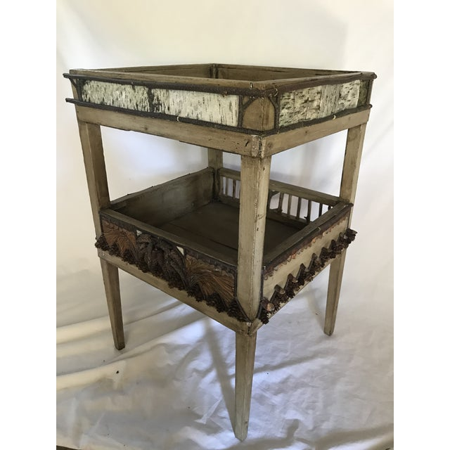 Antique wood plant stand or side table from an estate in the Adirondack mountains of New York. Masterfully restored and...