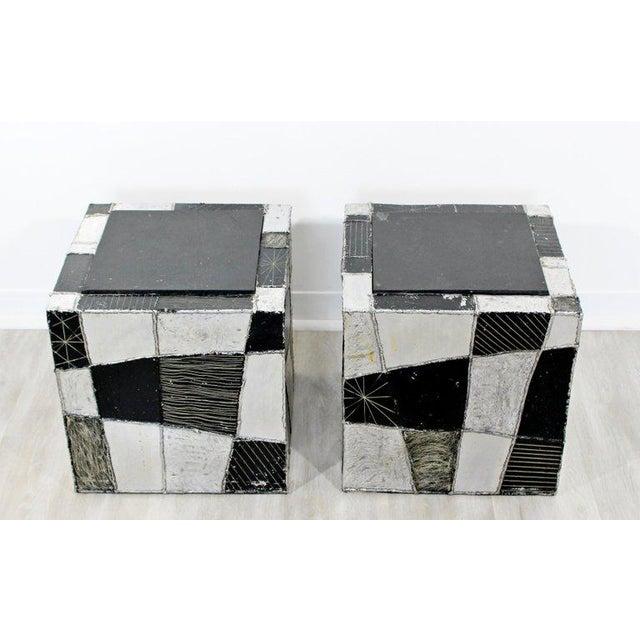 Paul Evans 1970s Mid-Century Modern Paul Evans Argente Cube Chrome Slate Side Tables - a Pair For Sale - Image 4 of 8