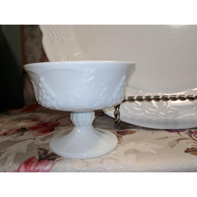 Vintage Milk Glass Serving Plate/Pedestal Dessert Dish With Grapevine Pattern For Sale - Image 9 of 13
