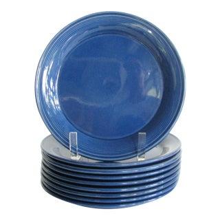 Vintage Nancy Calhoun Blue Sapphire Pottery Salad Plates - Set of 9 For Sale