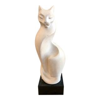 1990s Vintage Art Deco Cat Sculpture For Sale