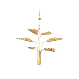 Gold Pierced Leaf Dumaine Chandelier For Sale