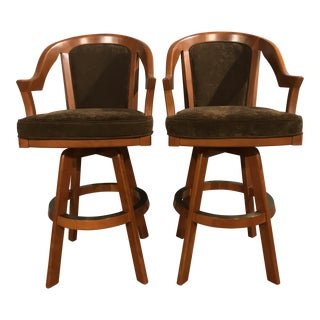 Modern Classic Curved Salem Cherry Swivel Upholstered Barstools- A Pair For Sale
