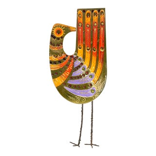 Curtis Jeré Enameled Copper Bird Wall Sculpture For Sale