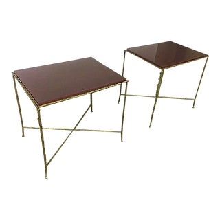 Maison Bagues Pair of Gold Bronze Refined Coffee Table With Red Lacquer Top
