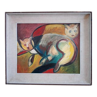 Early 20th Century Cubist Portrait of Cats Oil Painting, Framed For Sale