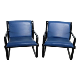 Pair Hannah Morrison for Knoll Sling Arm Chairs in Black and Blue For Sale