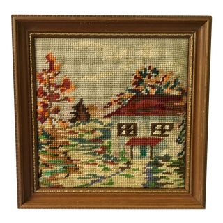 Vintage Needlepoint House and Trees Framed Picture