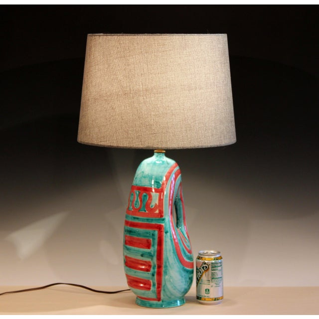 Vintage Italian Raymor Pottery Vase Lamp For Sale - Image 9 of 10