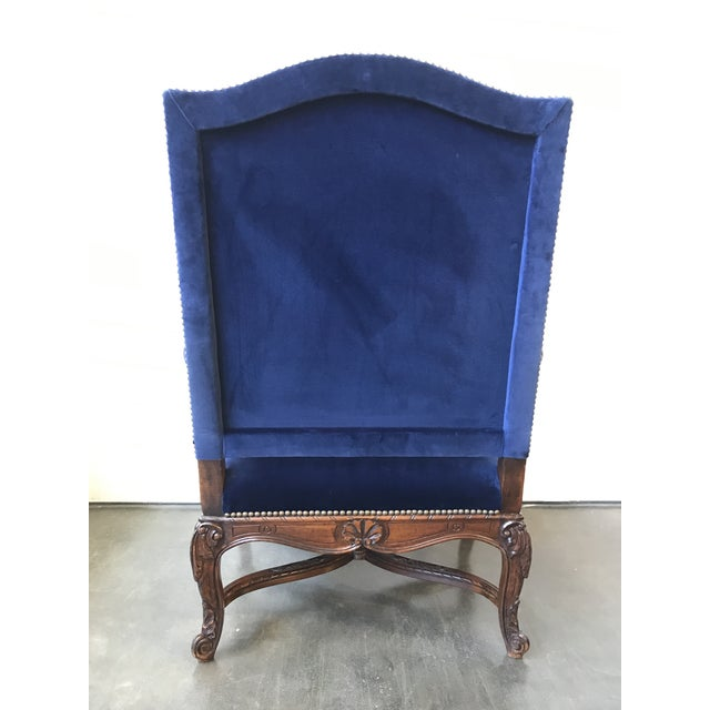 2000s Ralph Lauren Home Carved Provence Chair in Velvet For Sale - Image 5 of 11
