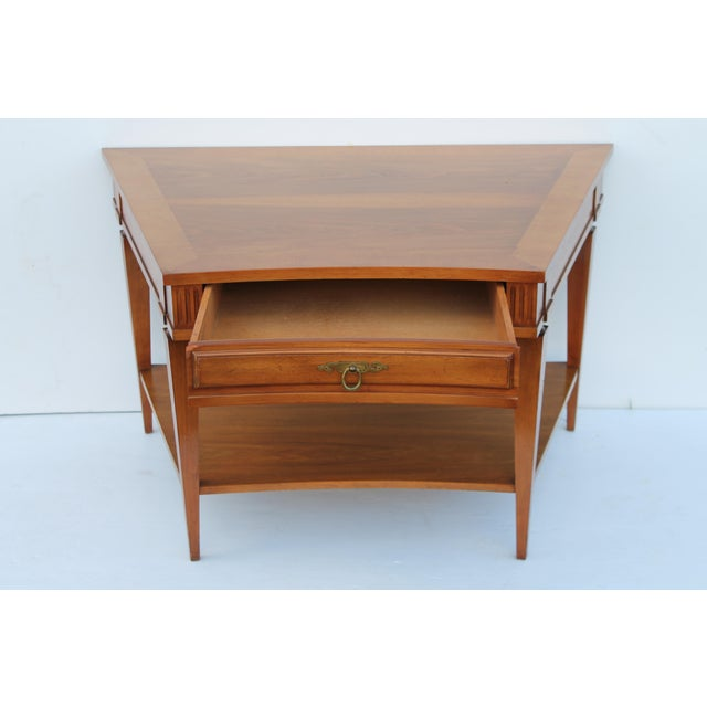 John Widdicomb Mid-Century Curved High End Walnut Accent Table - Image 9 of 11