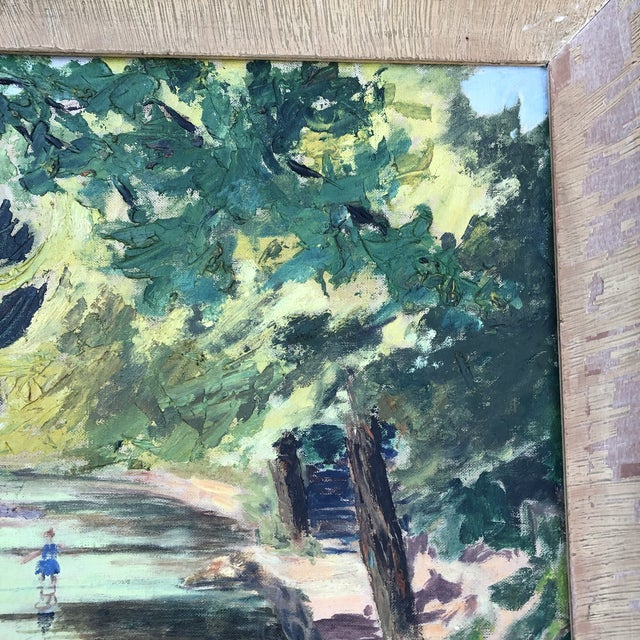 Children's 1980s M.Bickel Children Playing in Stream Landscape Painting For Sale - Image 3 of 13