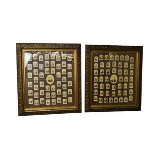 Antique Aesthetic Carved PairGold Frames With Historical Lodge Photos For Sale