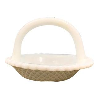 Vintage Cut Milk Glass Basket For Sale