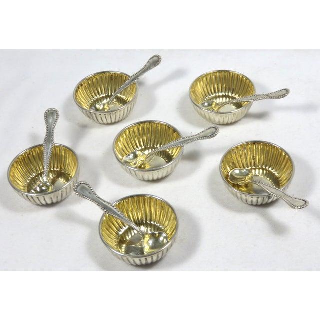 Vintage Sterling Silver Open Salt Cellars & Spoons - 12 Piece Set For Sale - Image 13 of 13