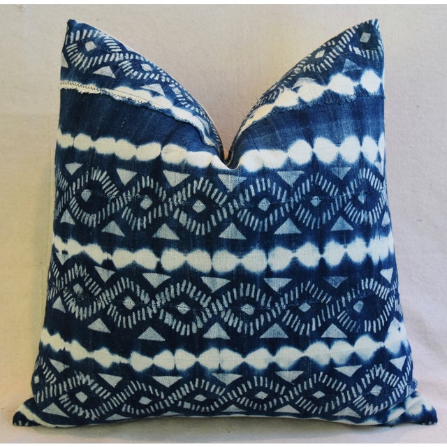 Indigo Blue & White Mali Tribal Feather/Down Pillow - Image 5 of 8