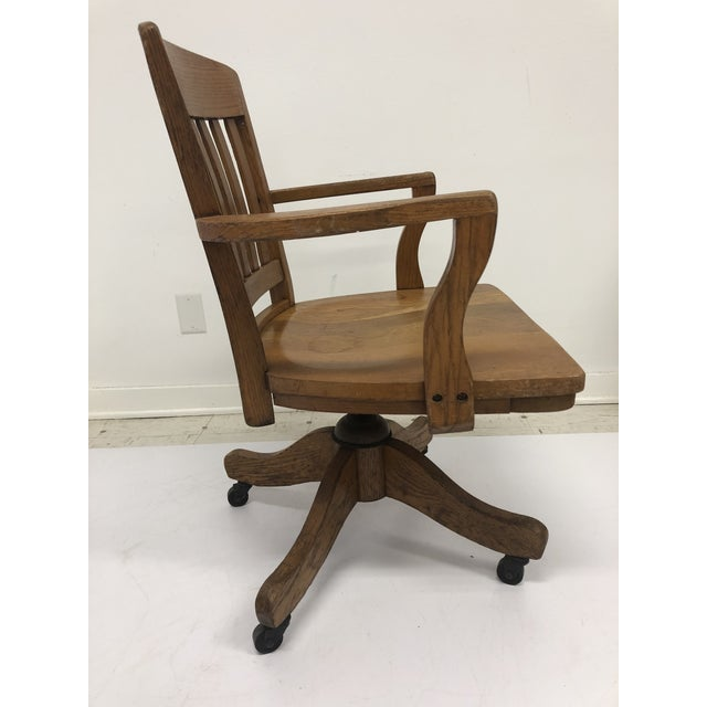 Vintage Industrial Wood Swivel Banker Chair For Sale - Image 4 of 13
