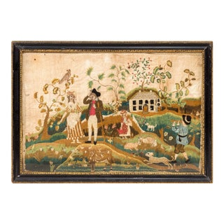 18th Century Needlework Picture of a Pastoral Scene For Sale