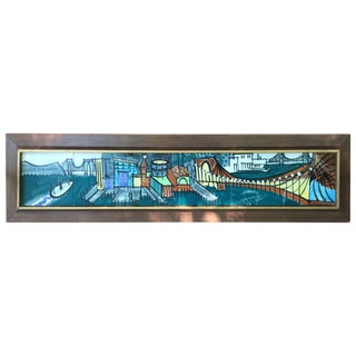 Harris Strong Six Pottery Tile Cityscape Bay Scene For Sale