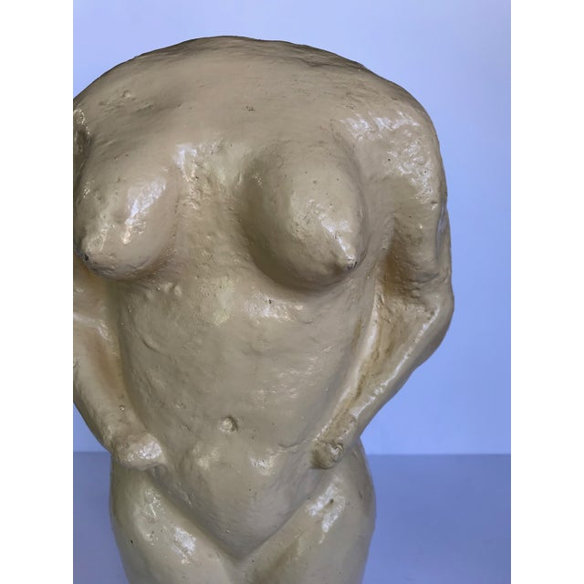 Mid-Century Modern Vintage Concrete Two Sided Nude Male/Female Sculpture For Sale - Image 3 of 10