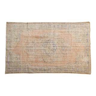 "Vintage Distressed Oushak Carpet - 6' X 9'7"" For Sale"