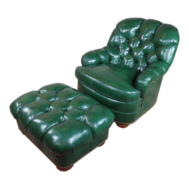 Hancock & Moore Tufted Green Leather Club Chair with Ottoman For Sale