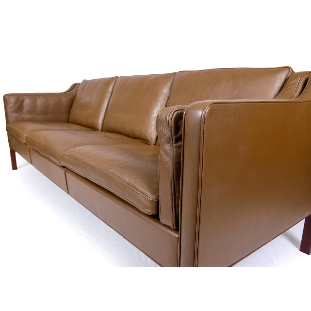 Wood Borge Mogensen Model #2213 Three-Seat Leather Sofa For Sale - Image 7 of 10