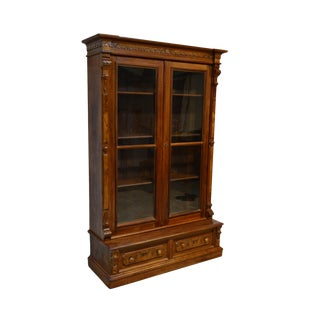19th Century Victorian Walnut Two Door Bookcase For Sale