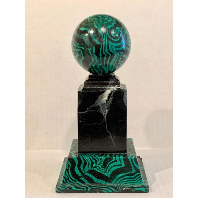 Wood Bob Christian 1987 Faux Malcihite Orbs - a Pair For Sale - Image 7 of 13