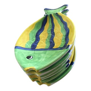 Colorful Ceramic Fish Plates - Set of 6 For Sale